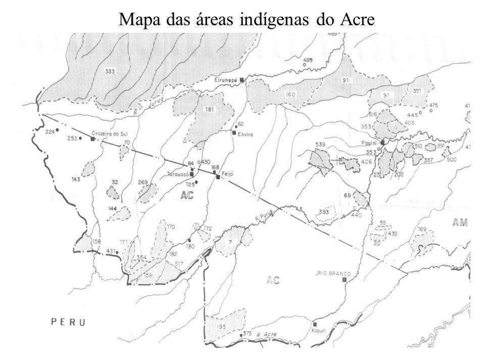 Mapa das áreas indígenas do Acre