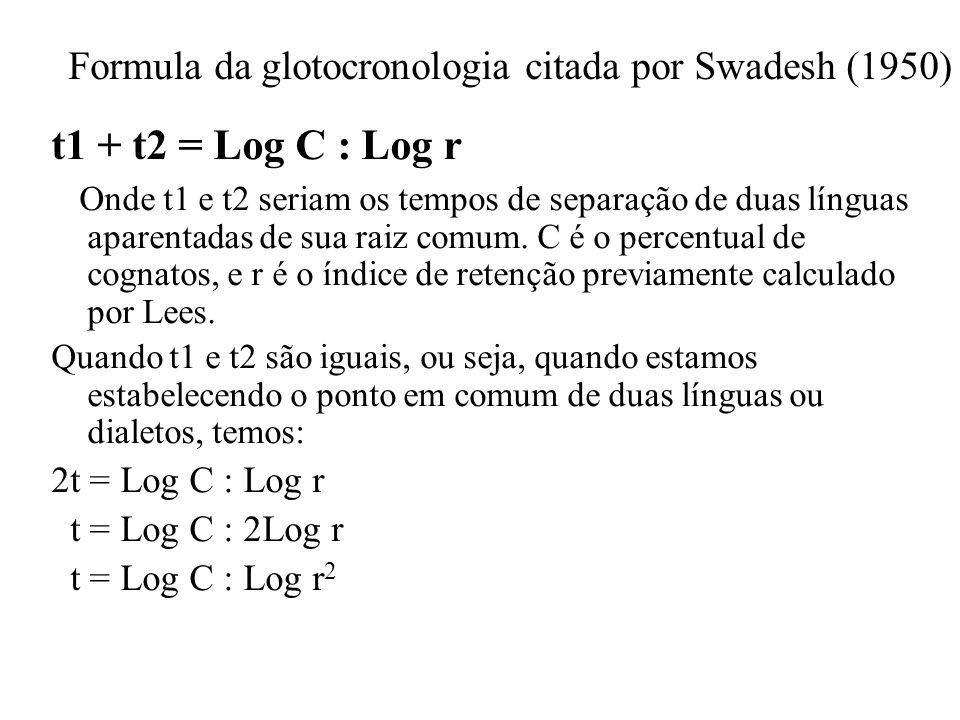 Formula da glotocronologia citada por Swadesh (1950) t1 + t2 = Log C : Log r Onde t1 e t2 seriam os tempos de separação de duas línguas aparentadas de sua raiz comum.