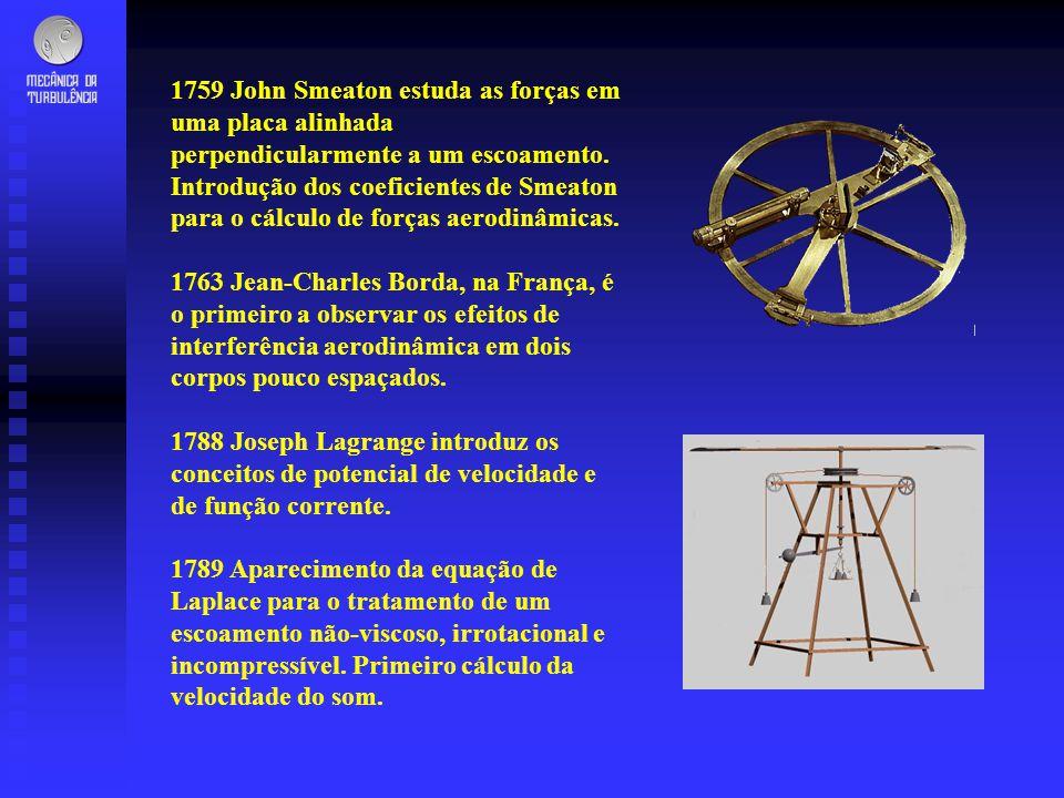 1759 John Smeaton estuda as forças em uma placa alinhada perpendicularmente a um escoamento. Introdução dos coeficientes de Smeaton para o cálculo de