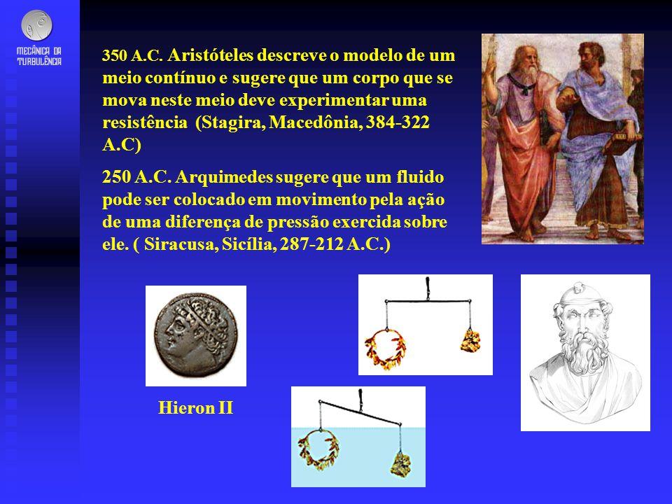 350 A.C. Aristóteles descreve o modelo de um meio contínuo e sugere que um corpo que se mova neste meio deve experimentar uma resistência (Stagira, Ma