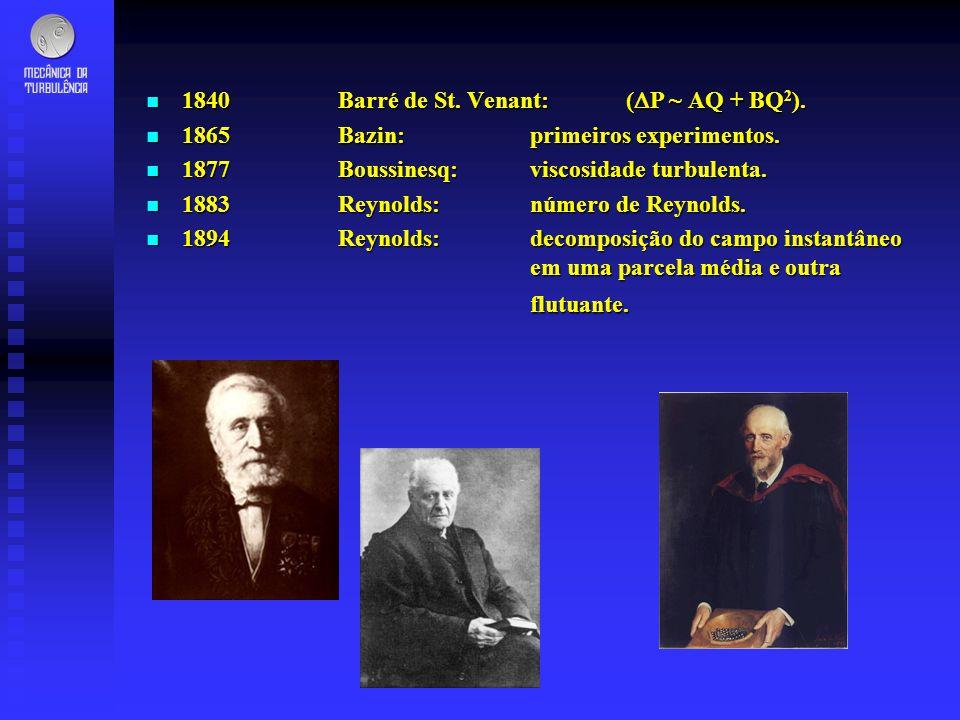 n 1840Barré de St. Venant:( P ~ AQ + BQ 2 ). n 1865Bazin:primeiros experimentos. n 1877Boussinesq: viscosidade turbulenta. n 1883Reynolds: número de R