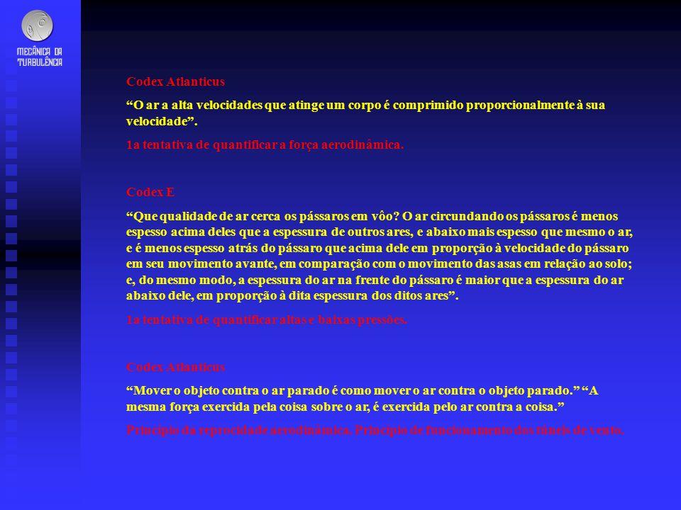 Codex Atlanticus O ar a alta velocidades que atinge um corpo é comprimido proporcionalmente à sua velocidade. 1a tentativa de quantificar a força aero
