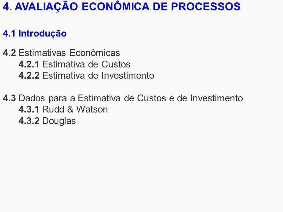 4. AVALIAÇÃO ECONÔMICA DE PROCESSOS 4.2 Estimativas Econômicas 4.2.1 Estimativa de Custos 4.2.2 Estimativa de Investimento 4.3 Dados para a Estimativa