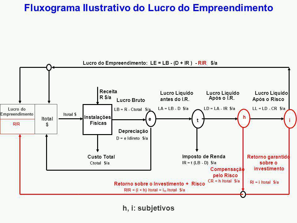 Fluxograma Ilustrativo do Lucro do Empreendimento Instalações Físicas Lucro Bruto Receita R $/a Custo Total LB = R - Ctotal $/a Lucro Líquido Após o I.R.