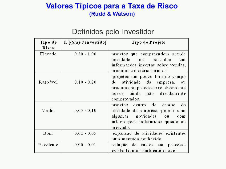 Valores Típicos para a Taxa de Risco (Rudd & Watson) Definidos pelo Investidor