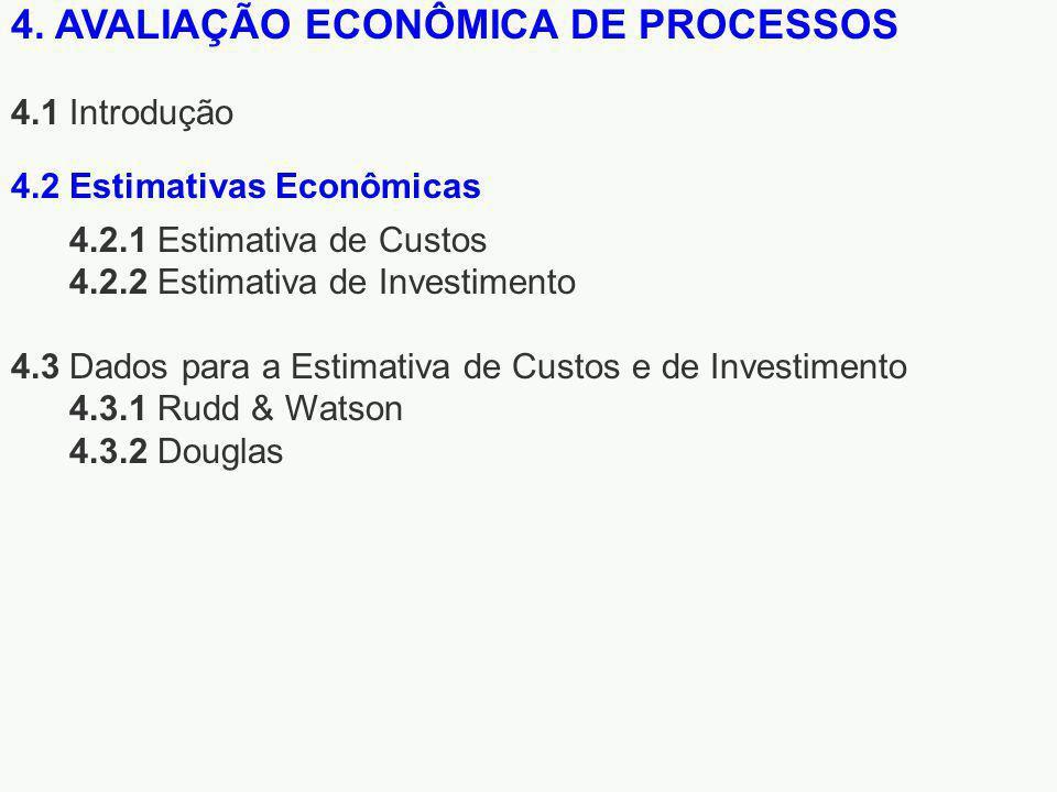 4. AVALIAÇÃO ECONÔMICA DE PROCESSOS 4.1 Introdução 4.2.1 Estimativa de Custos 4.2.2 Estimativa de Investimento 4.3 Dados para a Estimativa de Custos e