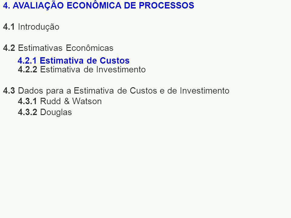4. AVALIAÇÃO ECONÔMICA DE PROCESSOS 4.1 Introdução 4.2 Estimativas Econômicas 4.2.2 Estimativa de Investimento 4.3 Dados para a Estimativa de Custos e