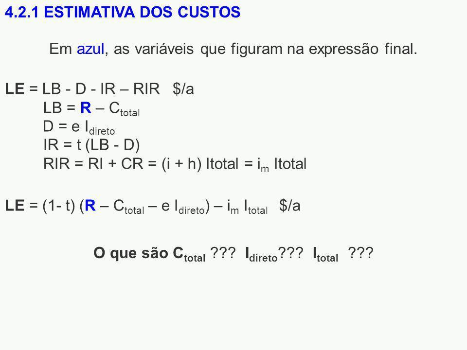 4.2.1 ESTIMATIVA DOS CUSTOS LE = (1- t) (R – C total – e I direto ) – i m I total $/a LE = LB - D - IR – RIR $/a LB = R – C total D = e I direto IR = t (LB - D) RIR = RI + CR = (i + h) Itotal = i m Itotal O que são C total ??.