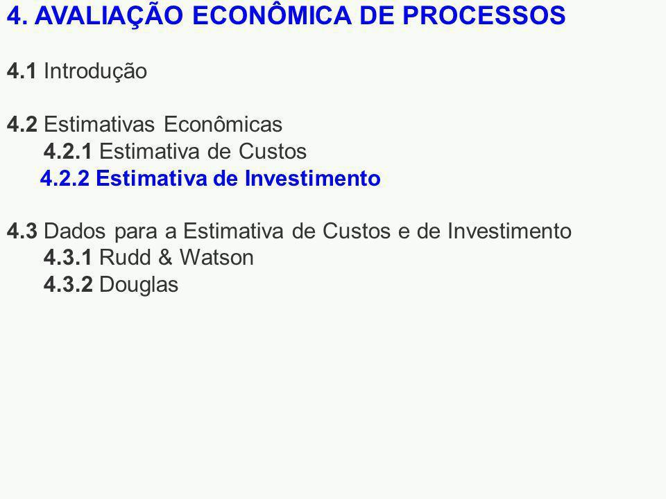 4. AVALIAÇÃO ECONÔMICA DE PROCESSOS 4.1 Introdução 4.2 Estimativas Econômicas 4.2.1 Estimativa de Custos 4.3 Dados para a Estimativa de Custos e de In