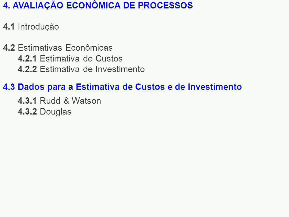 4. AVALIAÇÃO ECONÔMICA DE PROCESSOS 4.1 Introdução 4.2 Estimativas Econômicas 4.2.1 Estimativa de Custos 4.2.2 Estimativa de Investimento 4.3.1 Rudd &