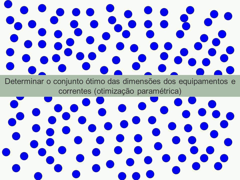 W 6 =8.615 kg/h T * 6 = 150 o C W 10 =36.345 kg/h T * 10 = 80 o C W 13 = 36.345 kg/h T 13 = 25 o C W 11 = 59.969 kg/h T * 11 = 15 o C W 8 = 228.101 kg/h T * 8 = 15 o C W * 1 = 100.000 kg/h x * 11 = 0,002 T * 1 = 25 o C f 11 = 200 kg/h f 31 = 99.800 kg/h W 7 = 8.615 kg/h T * 7 = 150 o C W 5 = 36.345 kg/h T * 5 = 80 o C W 3 = 37.544 kg/h x 13 = 0,002 T 3 = 25 o C f 13 = 120 kg/h f 23 = 37.424 kg/h W 4 = 1.200 kg/h x * 14 = 0,1 T 4 = 80 o C f 14 = 120 kg/h f 24 = 1.080 kg/h W 12 = 59.969 kg/h T * 12 = 30 o C W 12 = 228.101 kg/h T * 12 = 30 o C W 14 = 1.080 kg/h T * 14 = 25 o C W 2 = 99.880 kg/h x 12 = 0,0008 T 2 = 25 o C f 12 = 80 kg/h f 32 = 99.800 kg/h EXTRATOR Extrato Rafinado EVAPORADOR CONDENSADORRESFRIADORMISTURADOR BOMBA 1 2 3 4 5 67 8 9 10 11 12 13 14 15 V d = 11.859 l * = 0,0833 h r * = 0,60 A e = 124 m 2 A c = 119 m 2 A r = 361 m 2 W 15 = 37.425 kg/h T 13 = 25 o C LE = a R – b (Cmatprim + Cutil) - c I