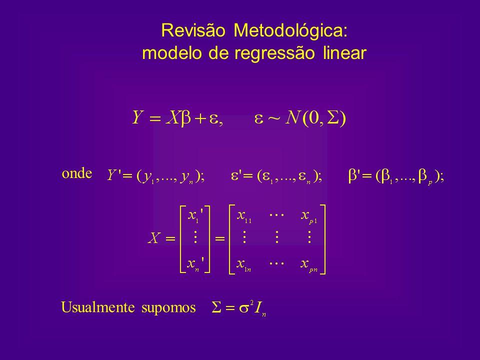 onde Usualmente supomos Revisão Metodológica: modelo de regressão linear