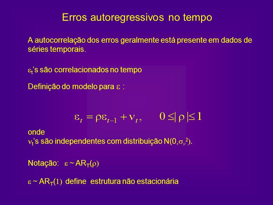A autocorrelação dos erros geralmente está presente em dados de séries temporais. Notação: ~ AR T ( ~ AR T ( define estrutura não estacionária Definiç