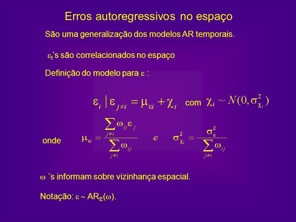 Notação: AR E ( ). Erros autoregressivos no espaço São uma generalização dos modelos AR temporais. t s são correlacionados no espaço onde Definição do
