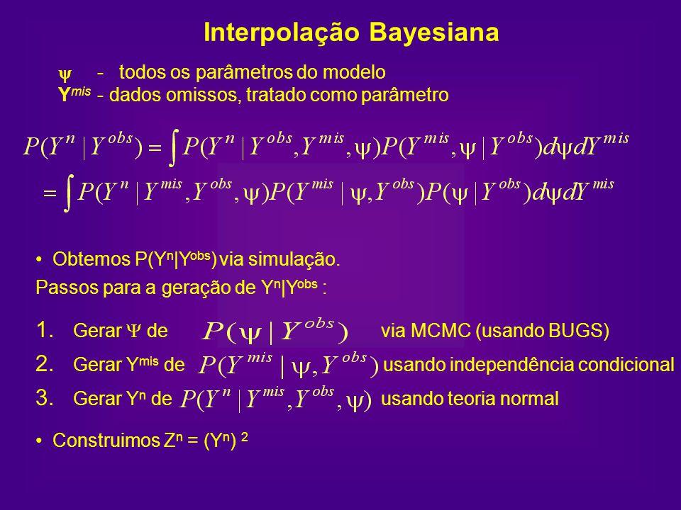 - todos os parâmetros do modelo Y mis - dados omissos, tratado como parâmetro 1. Gerar de via MCMC (usando BUGS) 2. Gerar Y mis de usando independênci