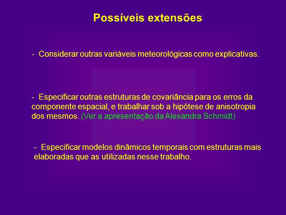 Possíveis extensões - Considerar outras variáveis meteorológicas como explicativas. - Especificar outras estruturas de covariância para os erros da co
