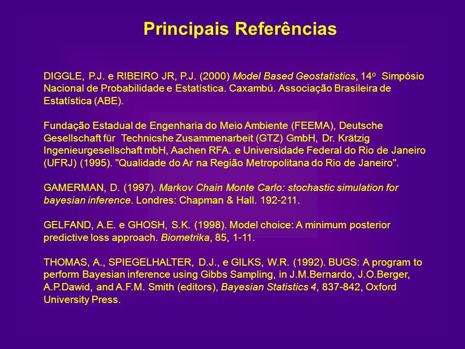 Principais Referências DIGGLE, P.J. e RIBEIRO JR, P.J. (2000) Model Based Geostatistics, 14 o Simpósio Nacional de Probabilidade e Estatística. Caxamb
