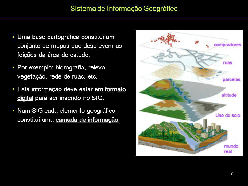 Sistema de Informação Geográfico Ambas representações podem ser usadas numa base cartográfica.