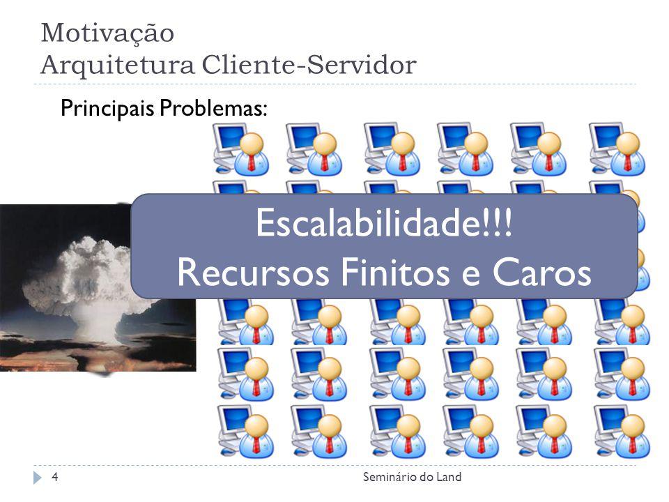 Motivação Arquitetura Cliente-Servidor Principais Problemas: Escalabilidade!!! Recursos Finitos e Caros 4Seminário do Land