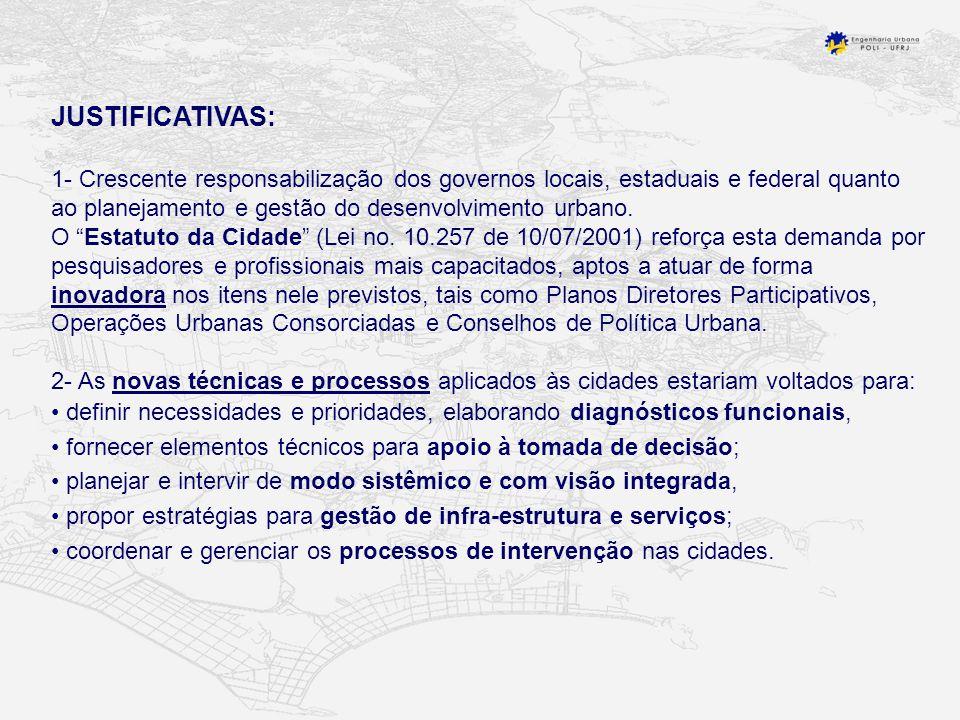JUSTIFICATIVAS: 1- Crescente responsabilização dos governos locais, estaduais e federal quanto ao planejamento e gestão do desenvolvimento urbano.