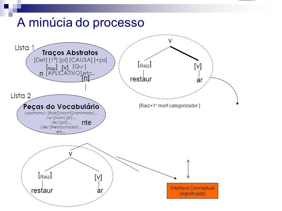 A minúcia do processo Traços Abstratos [Det] [1ª] [pl] [CAUSA] [+ps] [Qu-] [APLICATIVO] etc..