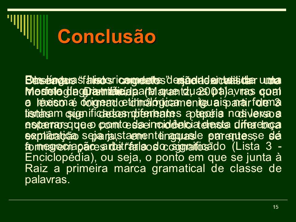 15 Conclusão Observar falsos cognatos ajuda a validar um modelo de gramática. Em línguas historicamente descendentes de uma mesma língua-mãe, para que