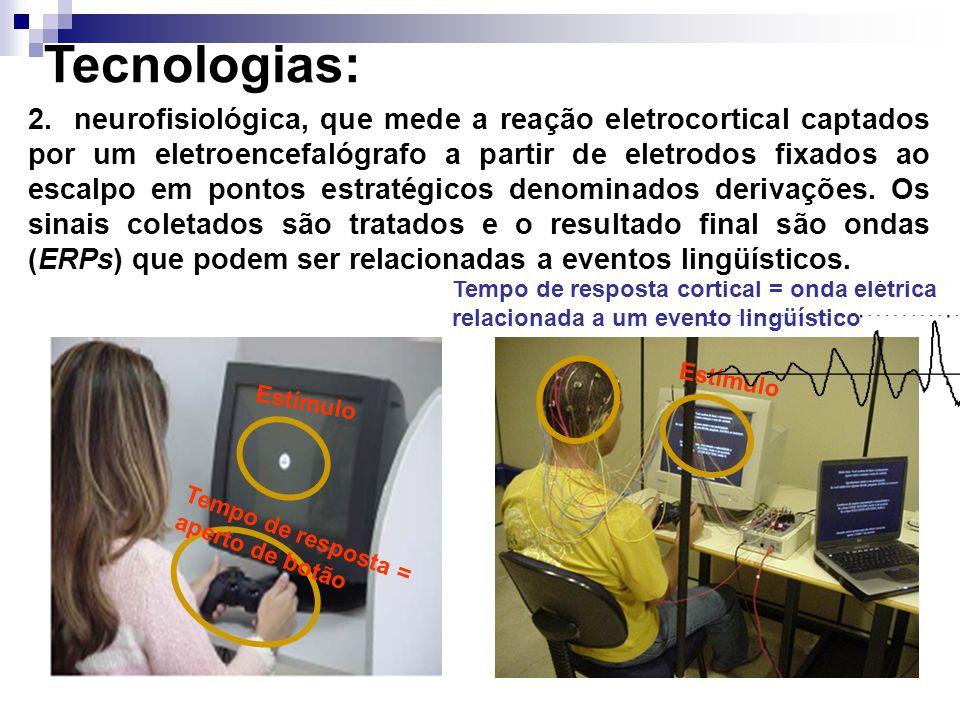 Tecnologias: A comparação entre estes dois conjuntos de verbos foi feita a partir de duas tecnologias experimentais: Tempo de resposta = aperto de botão Estímulo Tempo de resposta cortical = onda elétrica relacionada a um evento lingüístico 1.