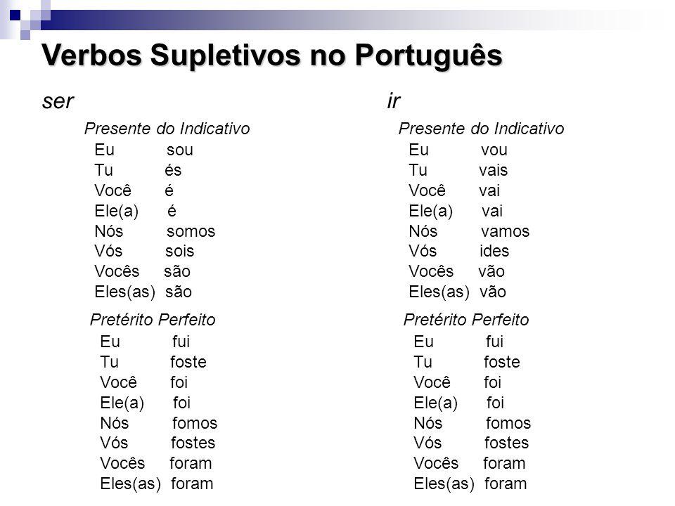 Verbos Supletivos no Português Eu sou Tu és Você é Ele(a) é Nós somos Vós sois Vocês são Eles(as) são ser Presente do Indicativo ir Eu fui Tu foste Você foi Ele(a) foi Nós fomos Vós fostes Vocês foram Eles(as) foram Pretérito Perfeito Eu vou Tu vais Você vai Ele(a) vai Nós vamos Vós ides Vocês vão Eles(as) vão Presente do Indicativo Eu fui Tu foste Você foi Ele(a) foi Nós fomos Vós fostes Vocês foram Eles(as) foram Pretérito Perfeito