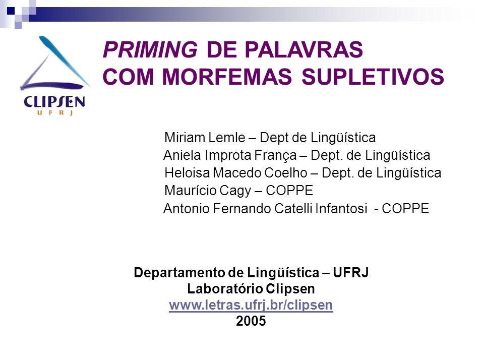 PRIMING DE PALAVRAS COM MORFEMAS SUPLETIVOS Miriam Lemle – Dept de Lingüística Aniela Improta França – Dept.