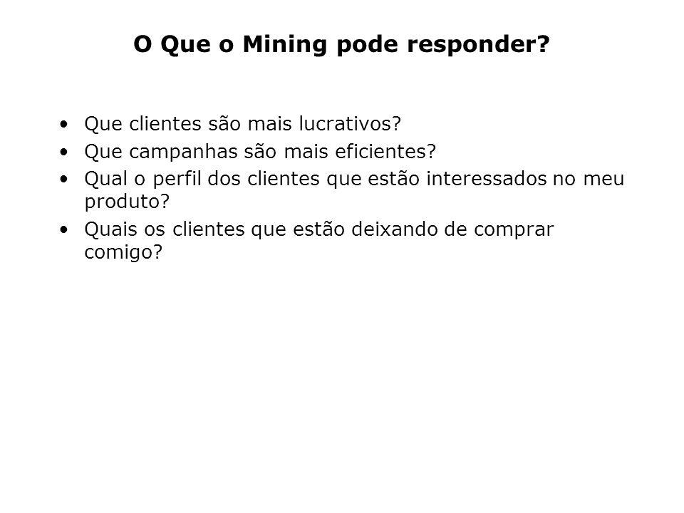 O Que o Mining pode responder? Que clientes são mais lucrativos? Que campanhas são mais eficientes? Qual o perfil dos clientes que estão interessados