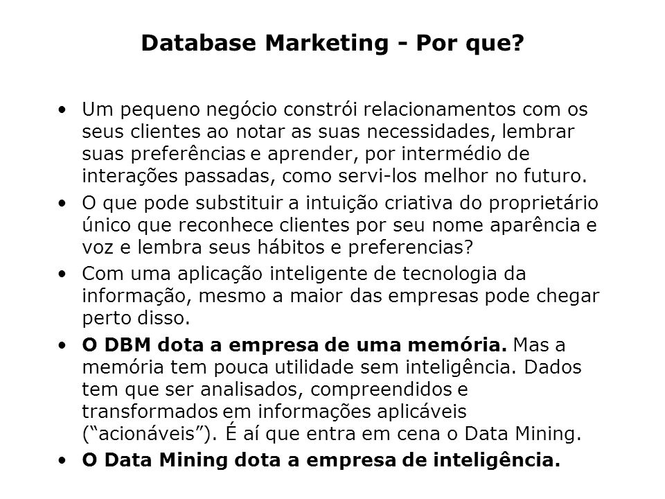 Database Marketing - Por que.