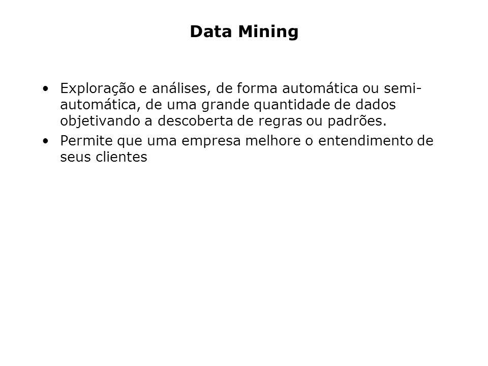 Data Mining Exploração e análises, de forma automática ou semi- automática, de uma grande quantidade de dados objetivando a descoberta de regras ou pa