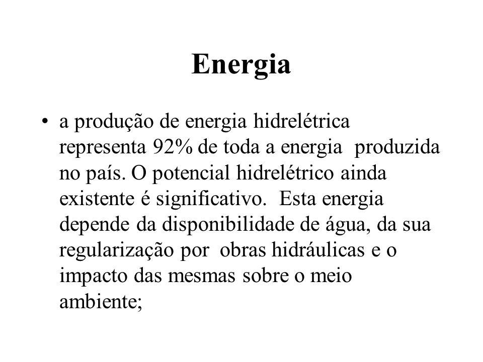 Energia a produção de energia hidrelétrica representa 92% de toda a energia produzida no país. O potencial hidrelétrico ainda existente é significativ