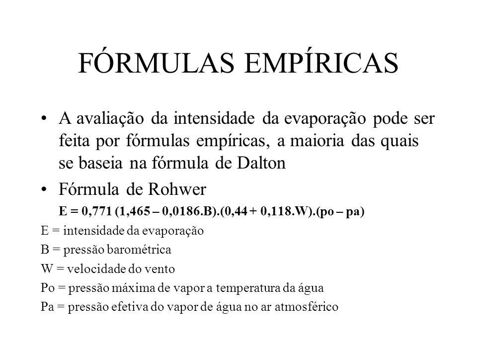 FÓRMULAS EMPÍRICAS A avaliação da intensidade da evaporação pode ser feita por fórmulas empíricas, a maioria das quais se baseia na fórmula de Dalton