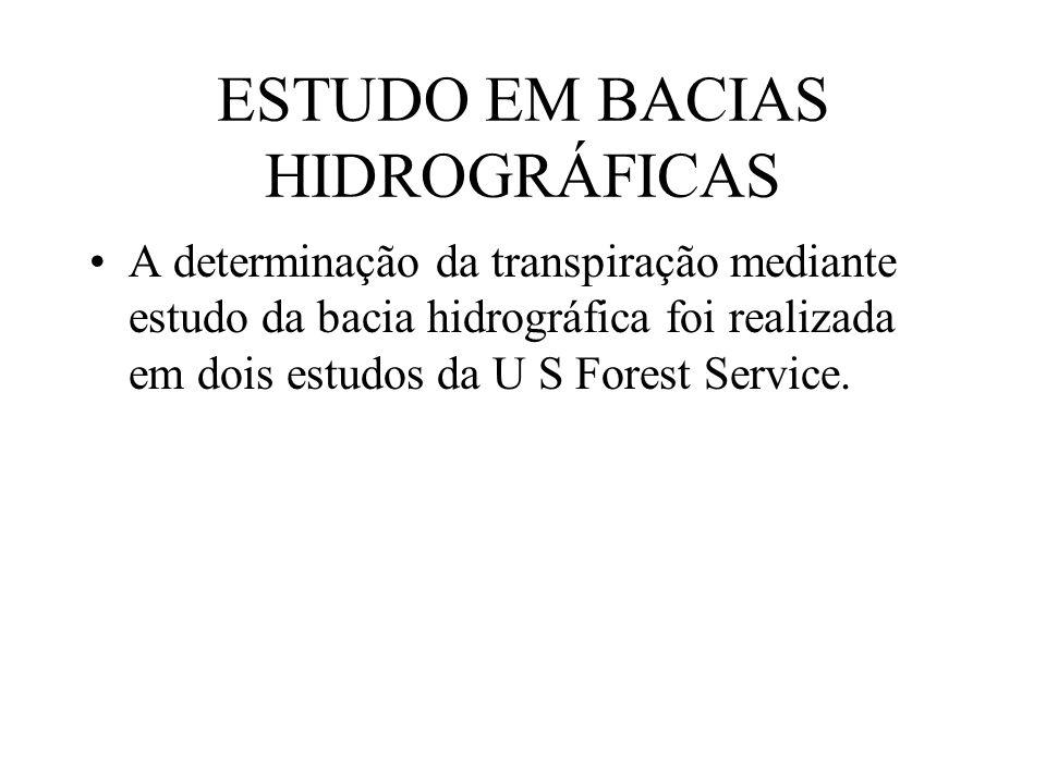 ESTUDO EM BACIAS HIDROGRÁFICAS A determinação da transpiração mediante estudo da bacia hidrográfica foi realizada em dois estudos da U S Forest Servic
