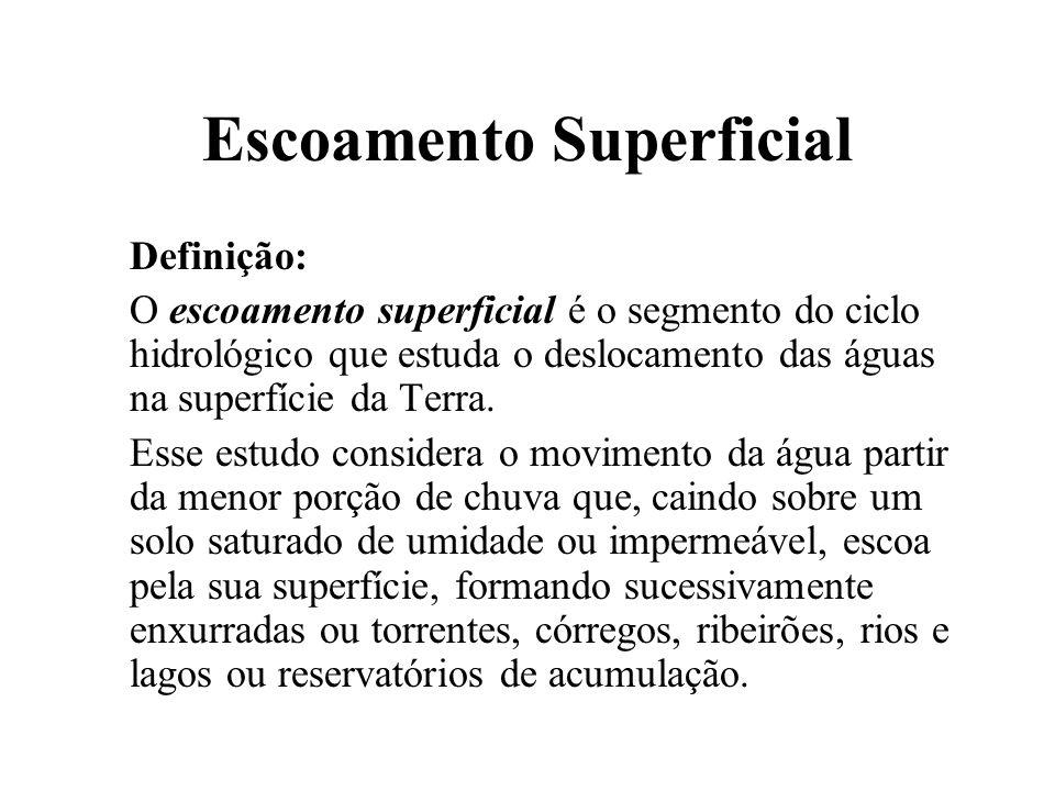 Escoamento Superficial Definição: O escoamento superficial é o segmento do ciclo hidrológico que estuda o deslocamento das águas na superfície da Terr