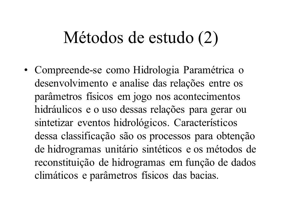 Métodos de estudo (2) Compreende-se como Hidrologia Paramétrica o desenvolvimento e analise das relações entre os parâmetros físicos em jogo nos acont