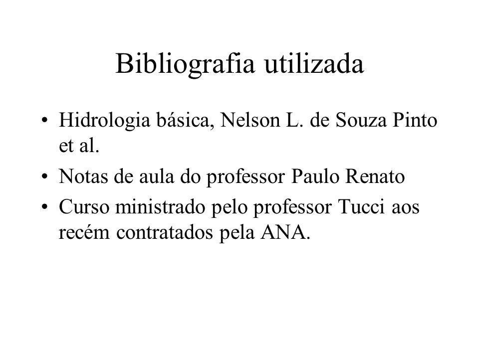 Bibliografia utilizada Hidrologia básica, Nelson L. de Souza Pinto et al. Notas de aula do professor Paulo Renato Curso ministrado pelo professor Tucc