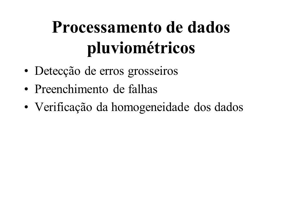 Processamento de dados pluviométricos Detecção de erros grosseiros Preenchimento de falhas Verificação da homogeneidade dos dados