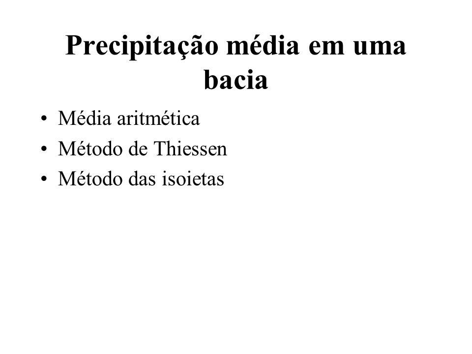 Precipitação média em uma bacia Média aritmética Método de Thiessen Método das isoietas