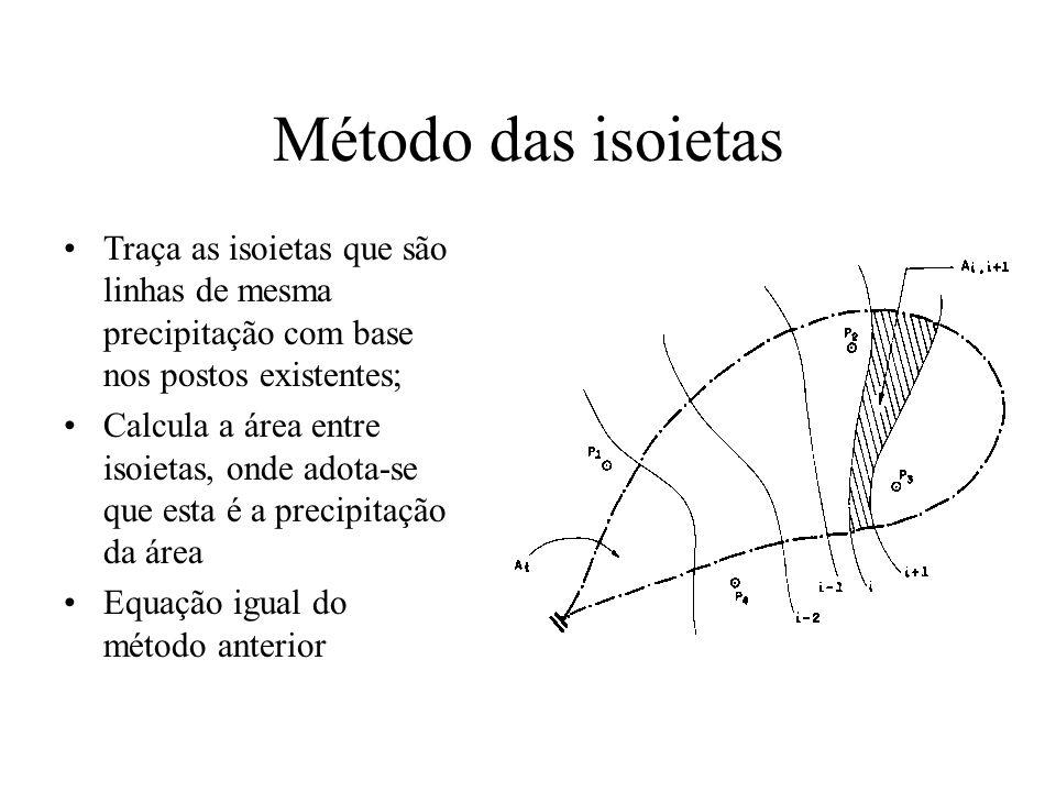 Método das isoietas Traça as isoietas que são linhas de mesma precipitação com base nos postos existentes; Calcula a área entre isoietas, onde adota-s