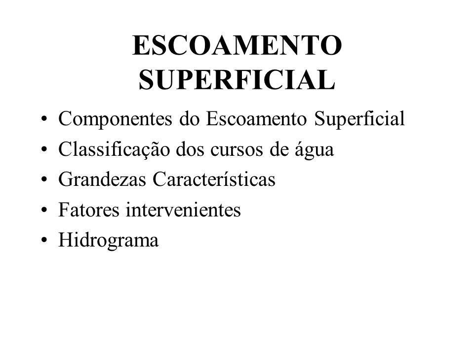 ESCOAMENTO SUPERFICIAL Componentes do Escoamento Superficial Classificação dos cursos de água Grandezas Características Fatores intervenientes Hidrogr