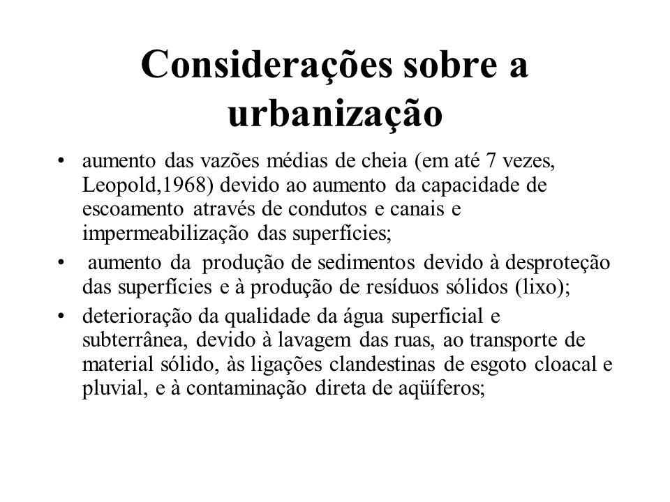 Considerações sobre a urbanização aumento das vazões médias de cheia (em até 7 vezes, Leopold,1968) devido ao aumento da capacidade de escoamento atra