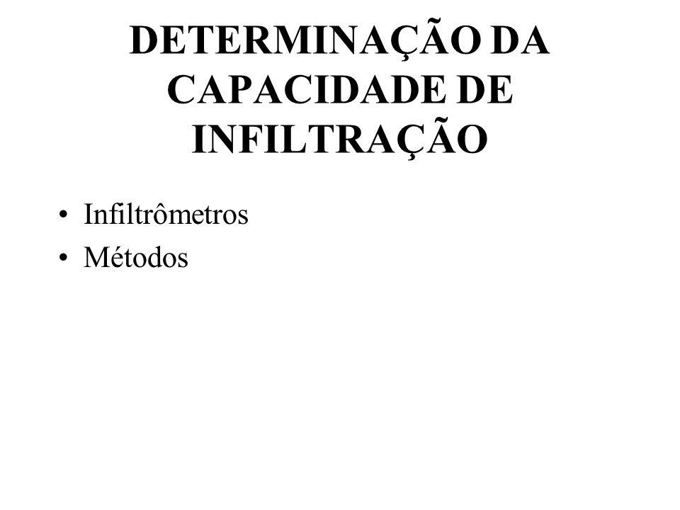 DETERMINAÇÃO DA CAPACIDADE DE INFILTRAÇÃO Infiltrômetros Métodos