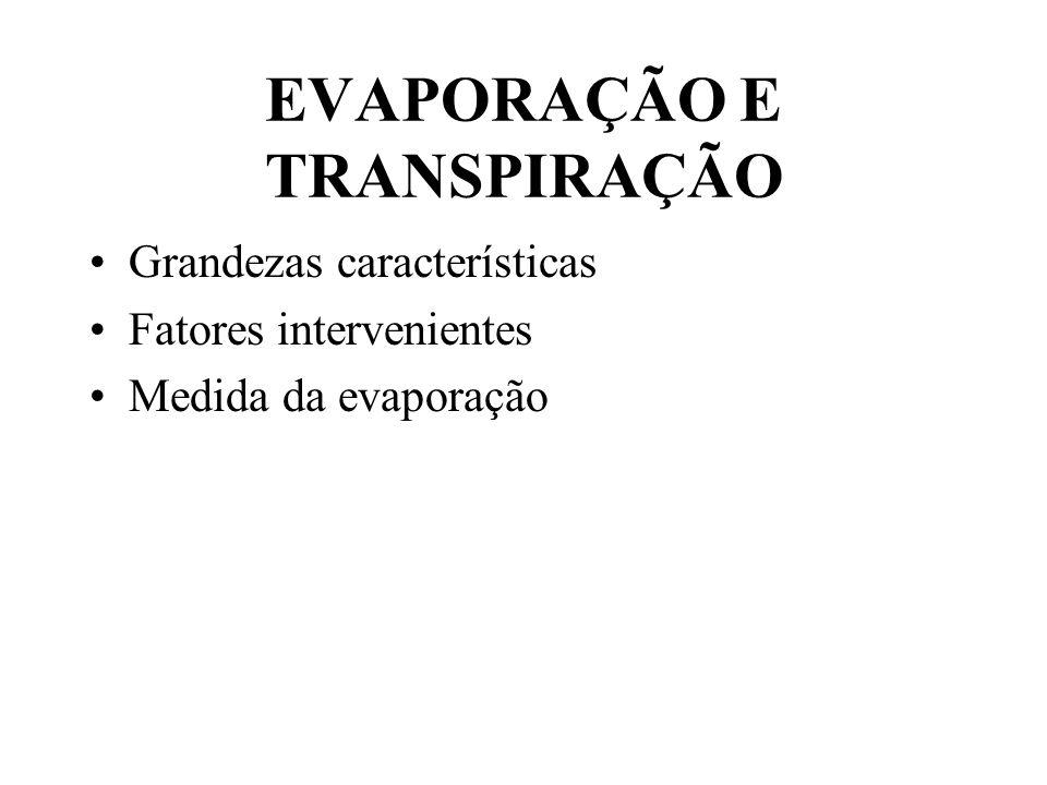 EVAPORAÇÃO E TRANSPIRAÇÃO Grandezas características Fatores intervenientes Medida da evaporação