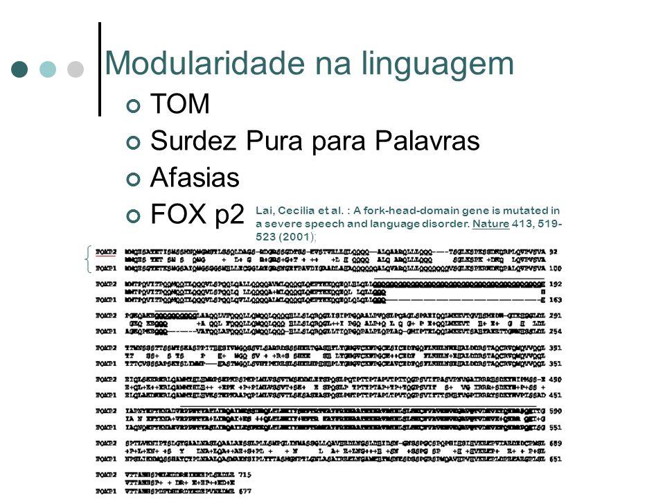 Modularidade na linguagem TOM Surdez Pura para Palavras Afasias FOX p2 Lai, Cecilia et al. : A fork-head-domain gene is mutated in a severe speech and