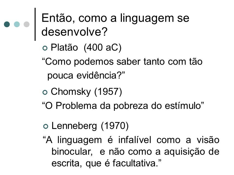 Então, como a linguagem se desenvolve? Platão (400 aC) Como podemos saber tanto com tão pouca evidência? Chomsky (1957) O Problema da pobreza do estím