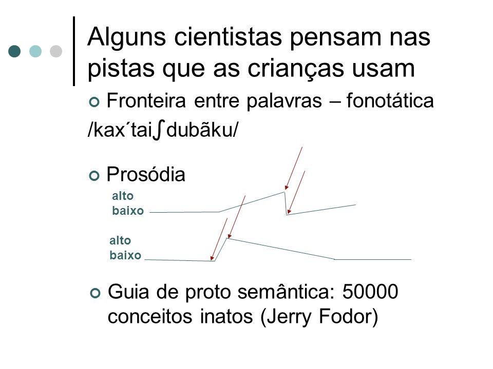 Alguns cientistas pensam nas pistas que as crianças usam Fronteira entre palavras – fonotática /kax´tai dubãku/ Prosódia Guia de proto semântica: 5000