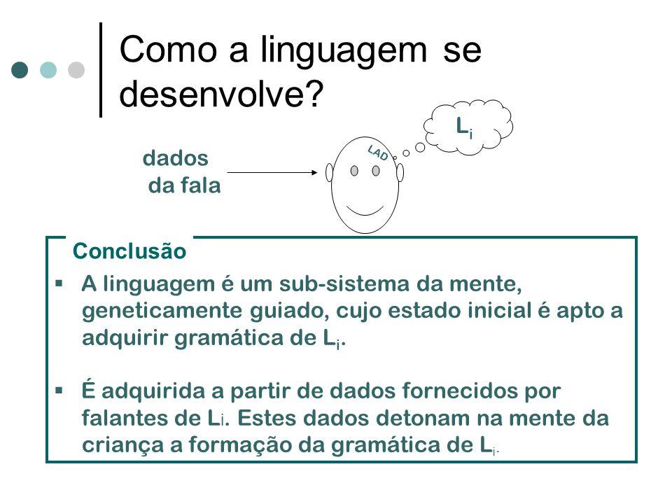 LiLi LAD dados da fala A linguagem é um sub-sistema da mente, geneticamente guiado, cujo estado inicial é apto a adquirir gramática de L i. É adquirid