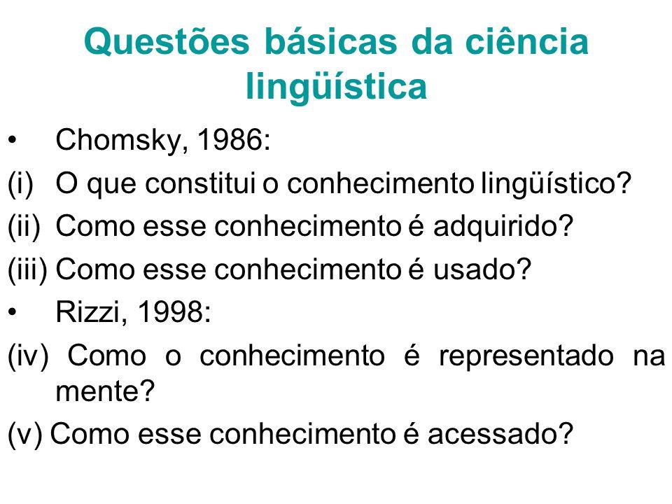 Questões básicas da ciência lingüística Chomsky, 1986: (i)O que constitui o conhecimento lingüístico.